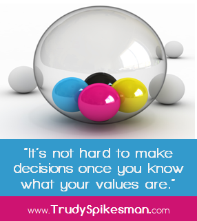 It's not hard to make decisions once you know what your values are.